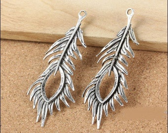 Antique 71 * 28mm (approx) silver Peacock feather stunning pendant