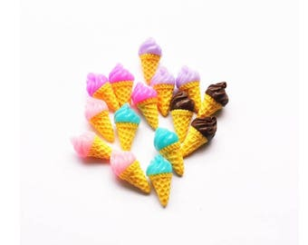 30pcs very cute children hair decoration parts resin icecream for DIY decoration