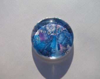 Cabochon 25 mm with image blue