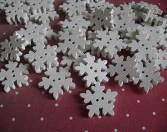 Buttons white snowflakes