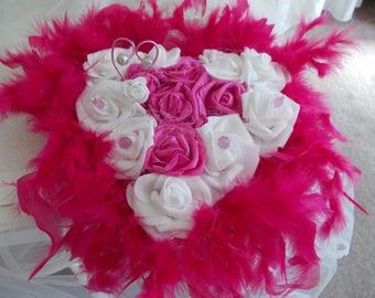 fuchsia heart ring bearer pillow