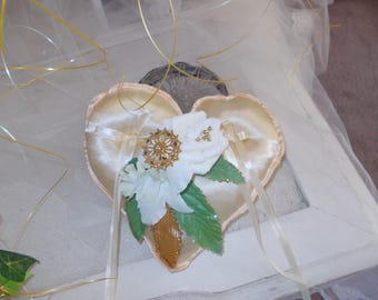 Gold and white ring bearer heart pillow