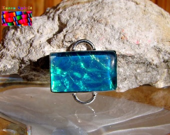 Glass silver plated connector dichroic Opalescent-Turquoise-2 cm - #13 green