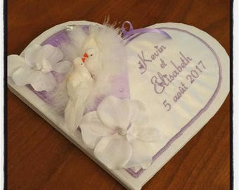 Wedding guestbook heart personalized and embroidered names and design choice