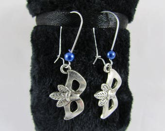 "Earrings ""Venetian mask & Royal Blue Pearl"""
