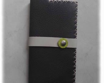Checkbook leather light brown/gray/lime