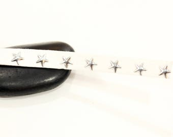 Silver Star 10mm - white studded suede cord
