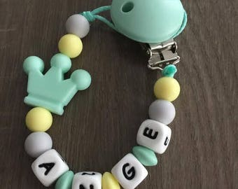 PACIFIER clip sea green and pale yellow-IDEAL birth gift