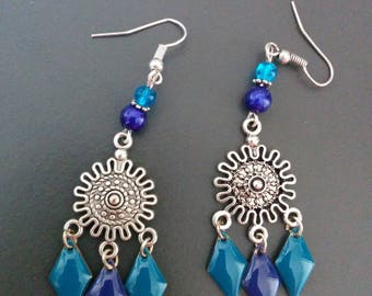 Blue sequin earrings