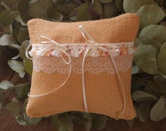 Pillow wedding ring pillow wedding - pale apricot burlap fabric - lace old Ribbon tassels