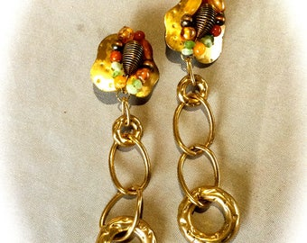 Vintage steampunk chic clip earrings
