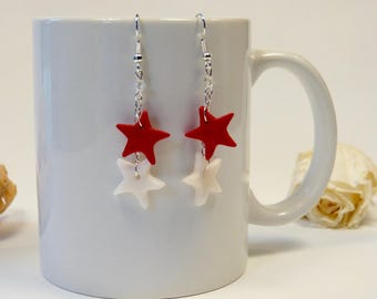Earrings red and white stars
