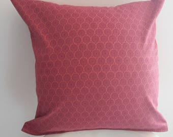 raspberry pink pillow cover; vintage circles pattern