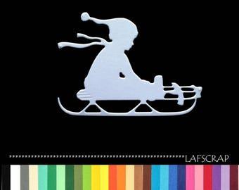 1 cut boy sledding scrapbooking embellishment die cut scrap album deco