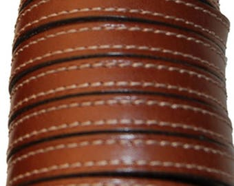28 cm leather strap 10 mm flat Brown cognac with stitching