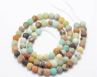 10 pearls Amazonite natural round Frost 8 mm