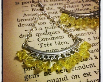 Silver earrings, pendants yellow faceted beads