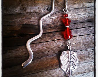 Bookmark silver charm and beads Red