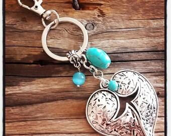 handbag charm / key theme silver heart and turquoise beads