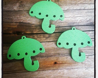 set of 3 umbrella wooden green 35mm x 35mm