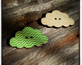 fancy 30x19mm cloud pattern line green and beige wooden button