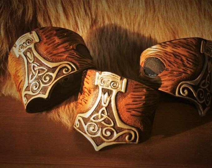 Featured listing image: Cuff Bracelet embossed viking fantasy Warrior leather Thor's hammer Mjöllnir custom