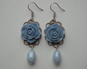 "Earrings ""Les Roses"" blue and filigree"