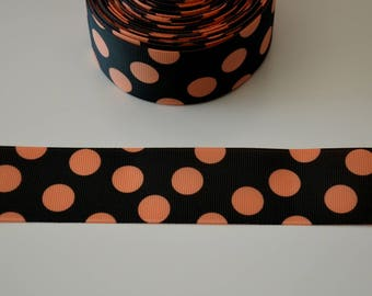 Black polka dots grosgrain ORANGE Ribbon 38mm