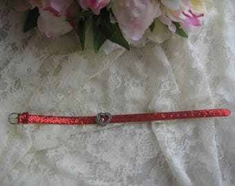 Free shipping! Glittery red leather bracelet