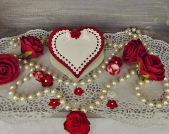 Mark up for ceremonial, heart, size ivory-pink-bordeaux bridge table, handmade, 3D - MP101