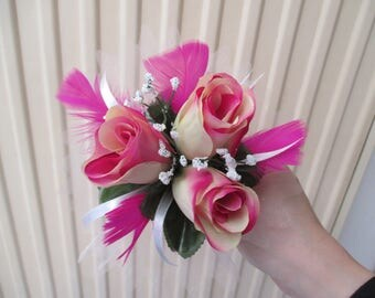 Bouquet for bridesmaid, fuchsia and white