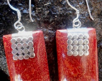 Rectangle earrings coral and Sterling Silver 925 stamp