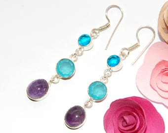 Earrings in amethyst and Topaz blue and Silver 925