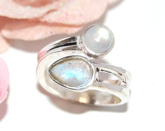 Ring, Moonstone and 925 Silver - size 54