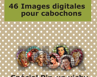 Digital images for cabochon jewelry gingham pinup