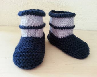 Little ones toes boots mixed Navy Blue & sky blue 6-9 months - booties