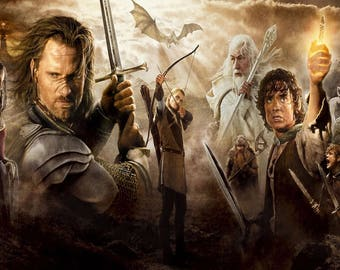 The Lord of the Rings Gandalf Frodo Legolas Aragon Large Canvas Picture Wall Art