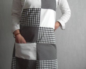 For women, polka dots and black and white gingham apron