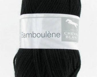 natural thread knitting BAMBOULENE black No. 012 white horse