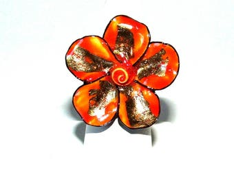 Silver plated Adjustable ring hand-painted porcelain flower ring