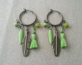 Green bronze hoop earrings