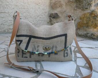 Handbag shoulder bag // burlap // recycled // coffee bag // gifts for her
