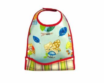 Bib oilcloth with owls pattern system