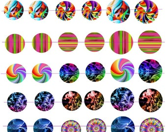 "Digital images ""multicolored No. 1"" round 25 and 30mm"
