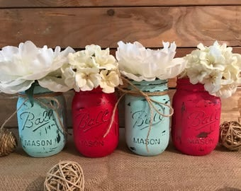 Set of 4 hand painted and distressed Ball Mason jars