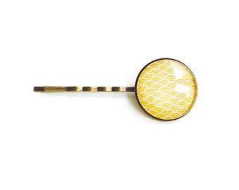 Bronze Barrette * cabochon * waves yellow