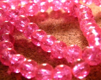 glass Crackle 8 mm - pink - PE136 50 beads