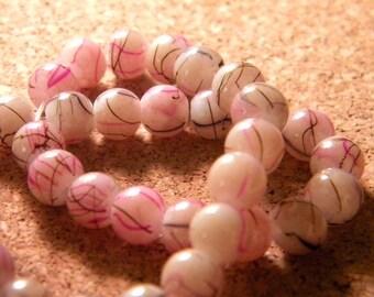 glass 6 mm pink speckled black - PE94 trefilee 20 beads
