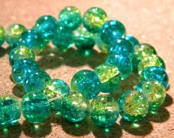 50 2 tones-8 mm - turquoise and yellow Crackle glass beads 1 PE297