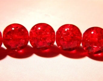 10 beads 12mm translucent crackled glass - red-PE262-3
